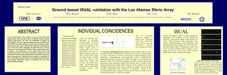 Ground based ISUAL validation with the Los Alamos Sferic Array M.J. Heavner 1 W.L. Boeck 2 X.M. Shao 3 H.U. Frey 4 S.B. Mende 4 1 Dept. Natural Sciences,