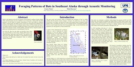 Foraging Patterns of Bats in Southeast Alaska through Acoustic Monitoring Carrie Talus 1 Matt Heavner 1 1 Dept. Natural Sciences, University of Alaska.