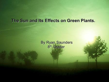 The Sun and Its Effects on Green Plants. By Ryan Saunders By Ryan Saunders 8 th Grader.