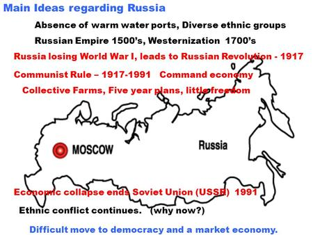Main Ideas regarding Russia Absence of warm water ports, Diverse ethnic groups Russian Empire 1500s, Westernization 1700s Russia losing World War I, leads.