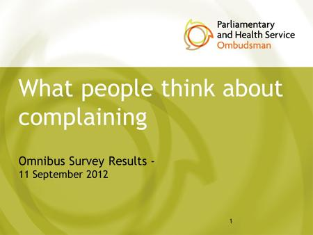 1 What people think about complaining Omnibus Survey Results - 11 September 2012.