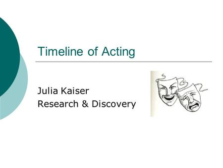 Timeline of Acting Julia Kaiser Research & Discovery.