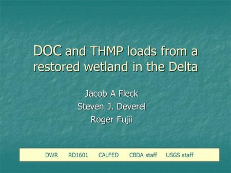 DOC and THMP loads from a restored wetland in the Delta DWR RD1601 CALFED CBDA staff USGS staff Jacob A Fleck Steven J. Deverel Roger Fujii.