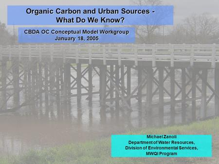 Organic Carbon and Urban Sources - What Do We Know? Michael Zanoli Department of Water Resources, Division of Environmental Services, MWQI Program CBDA.