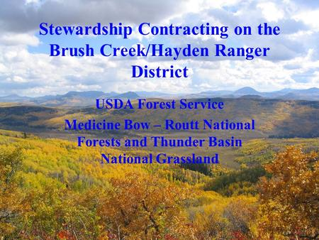 Stewardship Contracting on the Brush Creek/Hayden Ranger District USDA Forest Service Medicine Bow – Routt National Forests and Thunder Basin National.