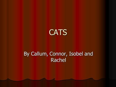 CATS By Callum, Connor, Isobel and Rachel. Introduction The Ancient Egyptians were the first to tame cats to protect their corn supplies. There are now.