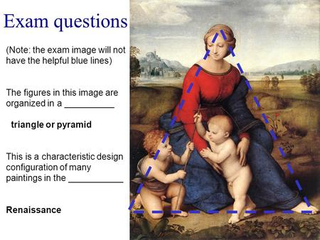 Exam questions (Note: the exam image will not have the helpful blue lines) The figures in this image are organized in a __________ triangle or pyramid.