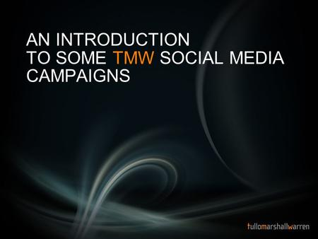 AN INTRODUCTION TO SOME TMW SOCIAL MEDIA CAMPAIGNS.