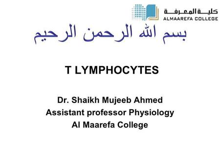 T LYMPHOCYTES Dr. Shaikh Mujeeb Ahmed Assistant professor Physiology Al Maarefa College.