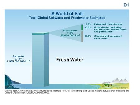 Fresh Water. Only 3% of the water on earth is fresh water: –Hydrologic cycle –Shortages do occur –Groundwater supplies can be exhausted Pollution of fresh.
