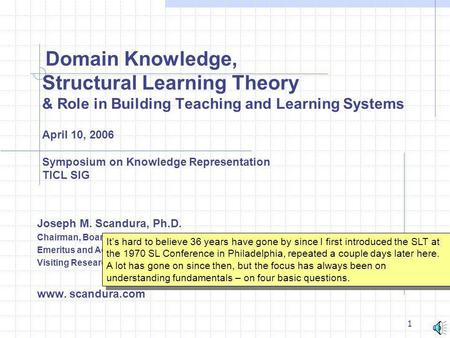 Domain Knowledge, Structural Learning Theory & Role in Building Teaching and Learning Systems April 10, 2006 Symposium on Knowledge Representation.