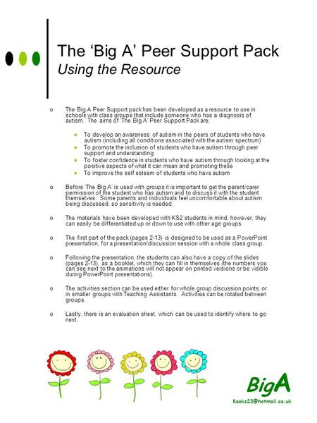 Big A The Big A Peer Support Pack Using the Resource The Big A Peer Support pack has been developed as a resource to use in schools.