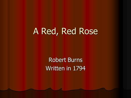 Robert Burns Written in 1794