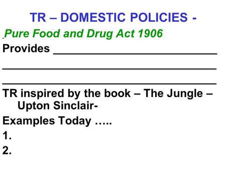 TR – DOMESTIC POLICIES - Pure Food and Drug Act 1906 Provides __________________________ __________________________________ TR inspired by the book – The.