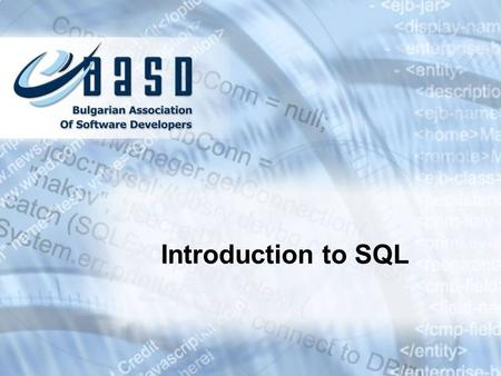 Introduction to SQL. Contents 1.Relational Databases and Data Models 2.SQL 3.The HR Database Schema in Oracle 4.Introducing SELECT Statement The WHERE.