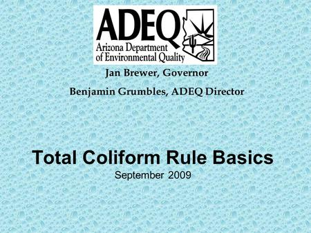 Total Coliform Rule Basics September 2009 Jan Brewer, Governor Benjamin Grumbles, ADEQ Director.
