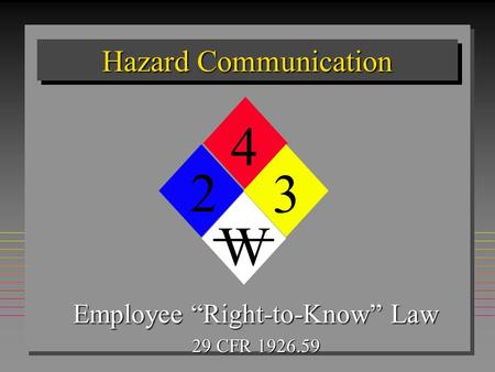 Hazard Communication Employee Right-to-Know Law 29 CFR 1926.59 4 2 W 3.