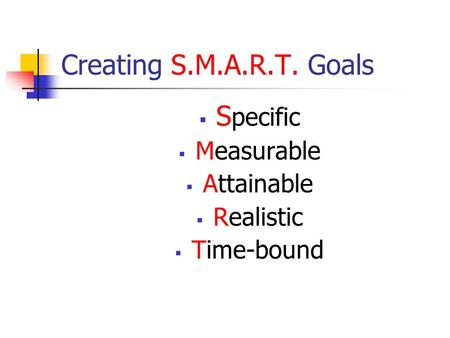 Creating S.M.A.R.T. Goals S pecific Measurable Attainable Realistic Time-bound.
