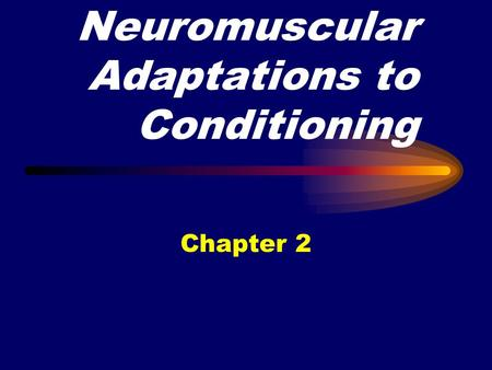 Neuromuscular Adaptations to Conditioning Chapter 2.