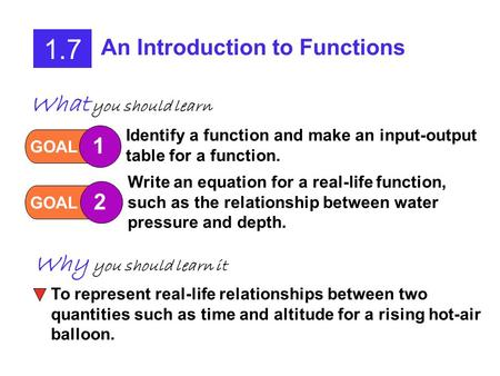 1.7 An Introduction to Functions GOAL 1 Identify a function and make an input-output table for a function. GOAL 2 Write an equation for a real-life function,