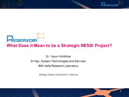 What Does it Mean to be a Strategic NESSI Project?