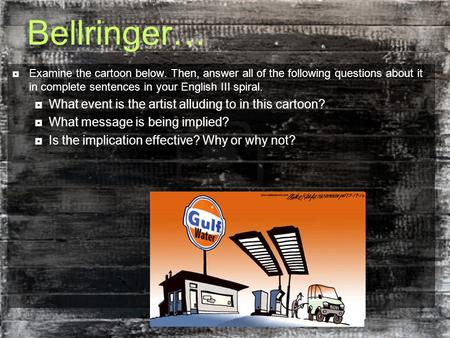 Bellringer… What event is the artist alluding to in this cartoon?
