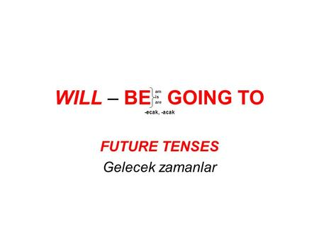 WILL – BE GOING TO -ecak, -acak FUTURE TENSES Gelecek zamanlar am is are.