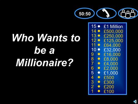 15 14 13 12 11 10 9 8 7 6 5 4 3 2 1 £1 Million £500,000 £250,000 £125,000 £64,000 £32,000 £16,000 £8,000 £4,000 £2,000 £1,000 £500 £300 £200 £100 Who Wants.