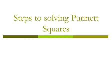 Steps to solving Punnett Squares. Example # 1 In a certain species of mouse, pointed ears are dominant over round ears. Predict the genotypes and phenotypes.