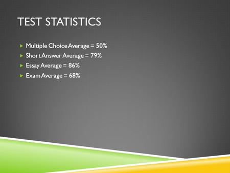 TEST STATISTICS Multiple Choice Average = 50% Short Answer Average = 79% Essay Average = 86% Exam Average = 68%