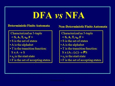 Waseem Besada1 DFA vs NFA Deterministic Finite Automata Characterized as 5-tuple S is the set of states A is the alphabet T is the transition function: