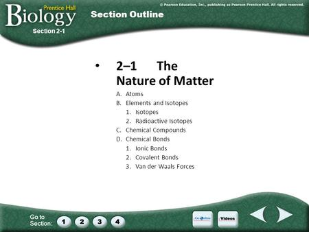 Go to Section: 2–1The Nature of Matter A.Atoms B.Elements and Isotopes 1.Isotopes 2.Radioactive Isotopes C.Chemical Compounds D.Chemical Bonds 1.Ionic.