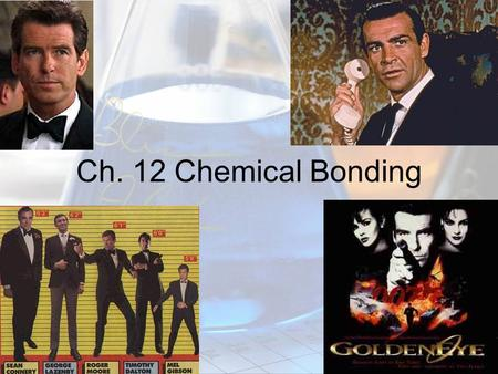 Ch. 12 Chemical Bonding 12.1 Ionic, covalent and polar covalent bonds. A bond is a force that holds atoms together. Ionic Bonding a. When a metal reacts.