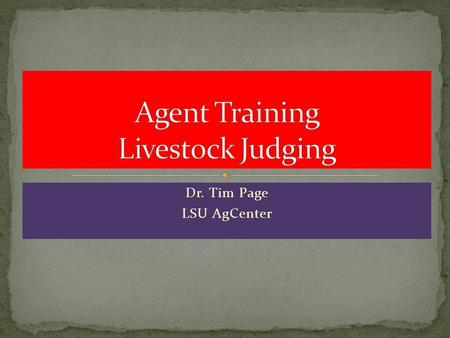 Agent Training Livestock Judging