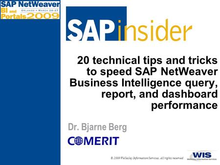 20 technical tips and tricks to speed SAP NetWeaver Business Intelligence query, report, and dashboard performance Dr. Bjarne Berg.
