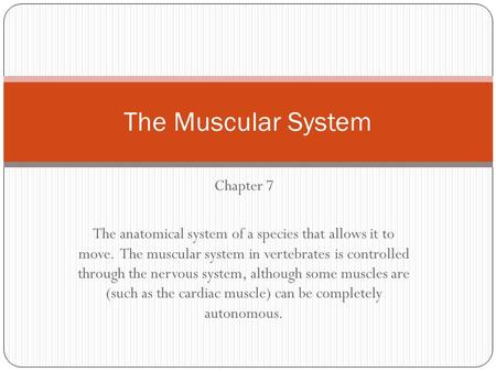 Chapter 7 The anatomical system of a species that allows it to move. The muscular system in vertebrates is controlled through the nervous system, although.