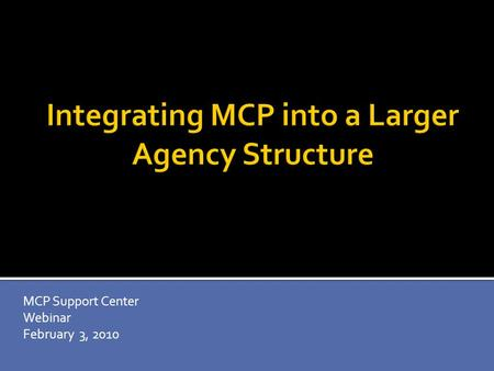 MCP Support Center Webinar February 3, 2010. Over 15 years experience in youth development including: VP of Training and Technical Assistance for MENTOR.