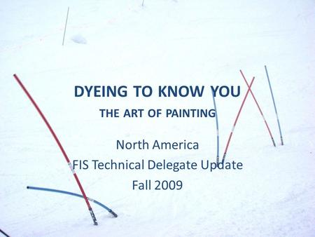 DYEING TO KNOW YOU THE ART OF PAINTING North America FIS Technical Delegate Update Fall 2009.