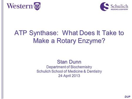 DUP ATP Synthase: What Does It Take to Make a Rotary Enzyme? Stan Dunn Department of Biochemistry Schulich School of Medicine & Dentistry 24 April 2013.
