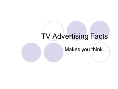 TV Advertising Facts Makes you think…. Are programs better/worse? Confronted for the first time with a staggering drop in advertising revenue, all four.