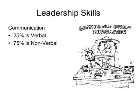 Leadership Skills Communication 25% is Verbal 75% is Non-Verbal.