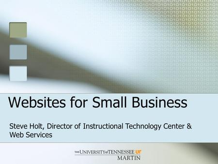 Websites for Small Business Steve Holt, Director of Instructional Technology Center & Web Services.