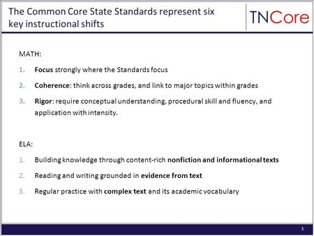 STRATEGIC PLAN The Common Core State Standards: Tennessees Transition Plan Abbreviated Version: March 23, 2012.