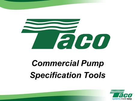 Commercial Pump Specification Tools