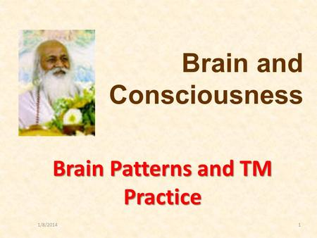 1/8/20141 Brain Patterns and TM Practice Brain and Consciousness.