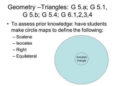 Geometry –Triangles: G 5.a; G 5.1, G 5.b; G 5.4; G 6.1,2,3,4 To assess prior knowledge: have students make circle maps to define the following: –Scalene.