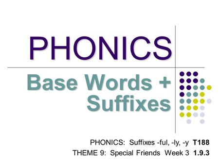PHONICS Base Words + Suffixes PHONICS: Suffixes -ful, -ly, -y T188 THEME 9: Special Friends Week 3 1.9.3.