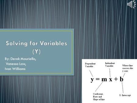 By: Derek Mauriello, Vanessa Law, Ivan Williams. Variable- a quantity or function that may assume any given value or set of values Isolating the y- put.