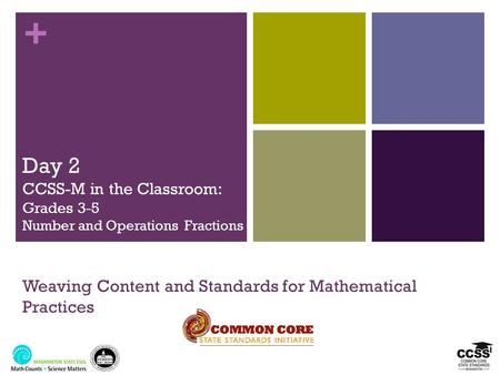 + Day 2 CCSS-M in the Classroom: Grades 3-5 Number and Operations Fractions Weaving Content and Standards for Mathematical Practices.