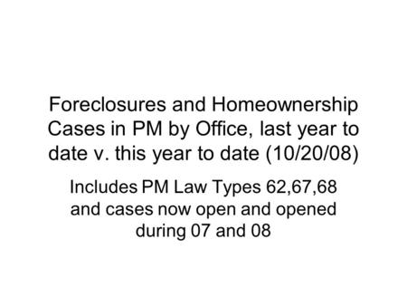 Foreclosures and Homeownership Cases in PM by Office, last year to date v. this year to date (10/20/08) Includes PM Law Types 62,67,68 and cases now open.